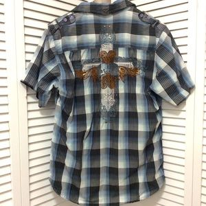 Fender men's medium summers end plaid shirt cross